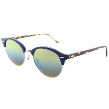 Ray-Ban Clubround RB 4246 1223C4 Blue Sunglasses blue Gold Rainbow Flash Lens