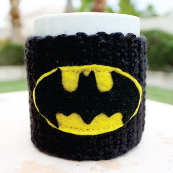 Batman Inspired Coffee Mug Tea Cup Cozy: Dark Knight Superhero Cartoon Animation Crochet Knit Sleeve