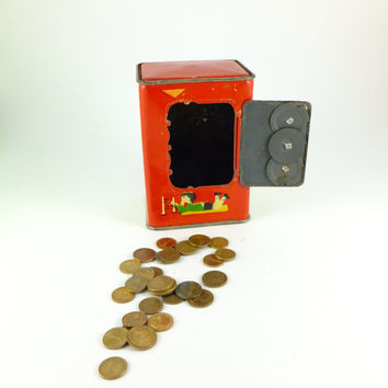 Vintage Metal Toy Combination Safe Bank PIGGY BANK, Lovely Pig Piggy Bank  Red,Blue,Yellow,Green, Coin Slots