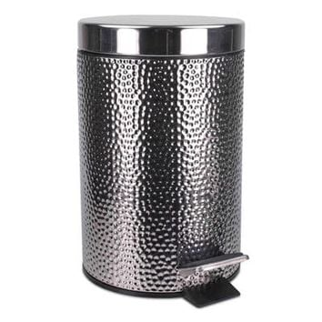 Hammered Stainless Steel Bathroom Wastebasket