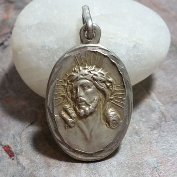 Vintage Religious Medal Italian Sterling Silver Dimensional Image of Jesus on One Side and Mary On the Other Side Catholic Christian Jewelry