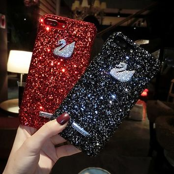 Luxury 3D cute swan Bling Glitter Flash Powder Hard plastic Phone Case For iPhone 5 5S SE 8 7 6 6S Plus sexy