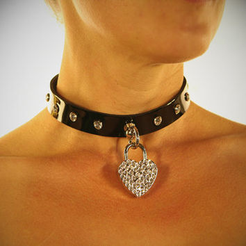 Liquid Nymph - Kitty Bling Black Leather Fetish Collar