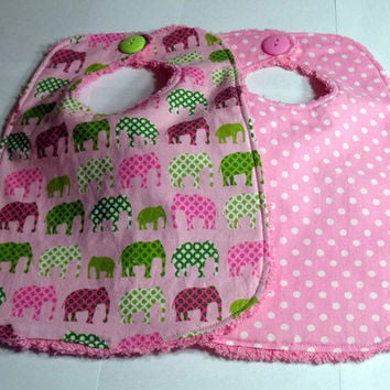 Baby Bibs Pink Polka dots and Pink Elephants by SouthernSeamsKids