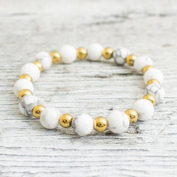 White howlite beaded stretchy bracelet with gold plated hematite balls, made to order yoga bracelet, mens bracelet, womens bracelet