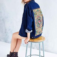 Native Rose Denim Tattoo Jacket- Rinsed Denim