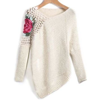 Apricot Round Neck Floral Crochet Loose Women Sweater with Embroidery