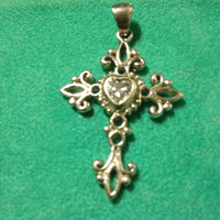 Italian Sterling Silver CZ Cross Pendant Filigree Heart Cubic Zirconia Italy Vintage Enhancer Slide Charm Estate 925 New Diamond Like