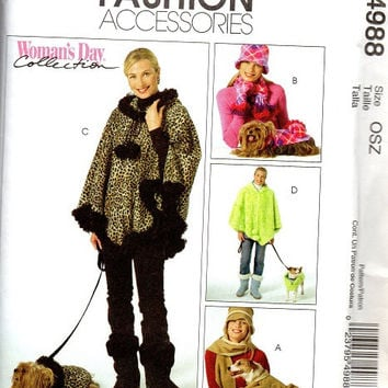 McCall's Sewing Pattern Hooded Poncho Dog Coat Mittens Winter Hat Scarf Puppy Sweater Uncut FF