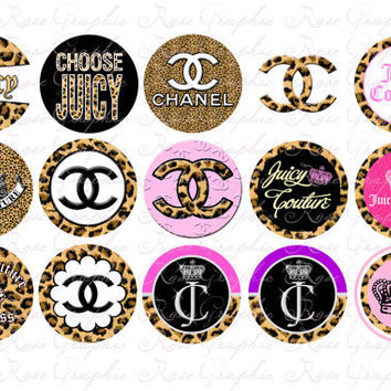 "Animal Print Fashion Juicy Couture Chanel 1 Inspired 1"" Round Image Sheet - Bottlecap DIY Scrapbook Digital"