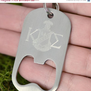SALE Fathers Day Sale Fraternity Keychain - Graduation Gift - Kappa Sigma - College Sorority Gift  - Bottle Opener Key Chain  - College Engr