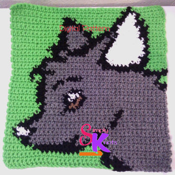 Crochet Dog Pattern Crochet Pattern Dog Purse Pattern Crochet Dog Chart Intarsia Crochet Pattern Dog Blanket Pattern Intarsia Dog