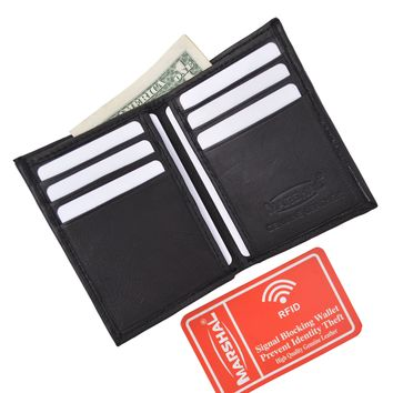 New RFID Blocking Slim Thin Mens Bifold Soft Genuine Leather ID Wallet Black Card Holder RFIDP71