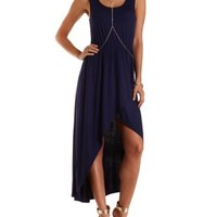 Navy Blue High-Low Tulip Slit Tank Dress by Charlotte Russe