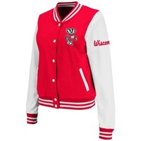 Wisconsin Badgers Ladies Comeback Full Button Jacket - Cardinal