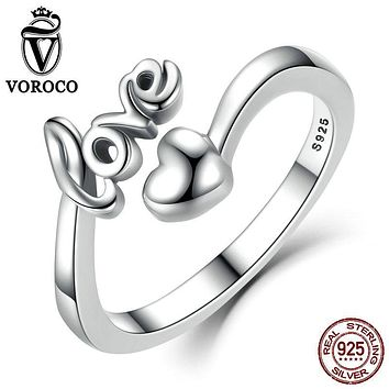 VOROCO Real 100% 925 Sterling Silver Love and Heart Minimalist Simple Open Adjustable Ring Women & Lady Fine Jewelry SCR024