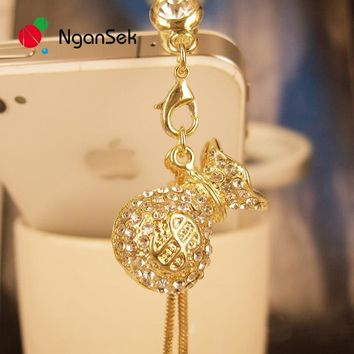 NganSek 3.5mm Crystal Rhinestones Jewelry Charms Earphone Audio Headphone Anti Dust Plug Phone USA Dollar Pouch