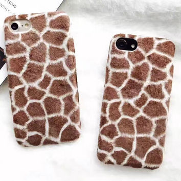 Handmade Comfy Giraffe Pattern Fur iPhone 7 7Plus iPhone se 5s 6 6 Plus Case Best Protection Cover & Gift Box