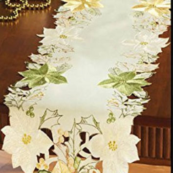 Embroidered Green Gold And Ivory Poinsettias Openwork Table Runner
