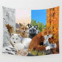 Four Shades of Fox Wall Tapestry by Distortion Art