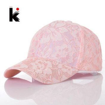 CREYCI7 Women's Baseball Caps Lace Sun Hats Breathable Mesh Hat Gorras Summer Cap For Women Snapback Casquette