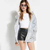 Silver Hooded  Zipper Front Long Sleeves Plaid Jacket