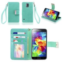 IZENGATE Samsung Galaxy S5 Executive Premium PU Leather Wallet Flip Case Cover Folio Stand (Mint)
