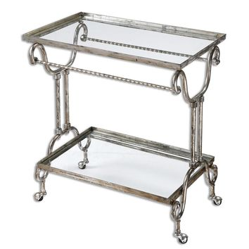 Acasia Silver Tea Cart By Uttermost