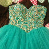 Sweetheart Green Ball Gown Short/ Mini Prom Dress/Homecoming Dress/ Formal Dress/ Graduation Dress/ custom made dress 2013