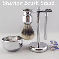 Men's Classy Old School Metal Shaving Brush Razor Drip Stand Holder Rack