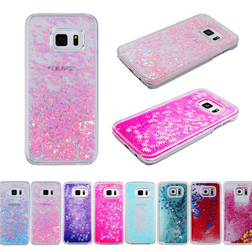 Dynamic Liquid Glitter Sand Love Heart Bling Back Case Cover For Samsung Galaxy S6 S7 edge plus edge+ S8 Cell Phone fundas
