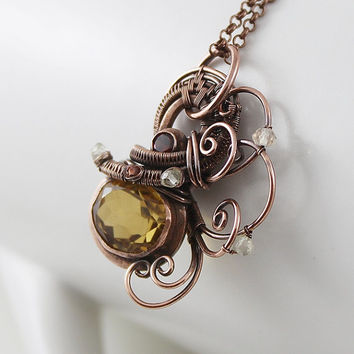 Citrine Necklace, Yellow Golden Citrine, Maroon Garnet, Copper Wire Wrapped Necklace, Waves Pendant