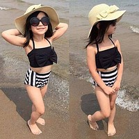 Baby Bikini Set Halter Bowknot Swimsuit High Waisted Girls Kids Bathing Suit For 3 to 12 Year Old Children Swimwear B2Cshop