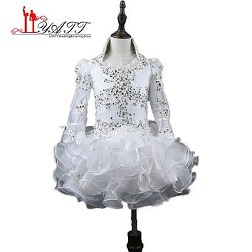 Liyatt Short Flower Girl Dress 2017 Real Little Girl Gowns 3/4 Sleeve Beads Crystal Rhinestone Ruffles White Pageant Dress
