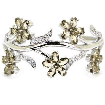 DCCKON3 2018 New Arrival Smokey Quartz, White CZ Flower 925 Silver Cuff Bangle Bracelet  7.5inch 82x32mm