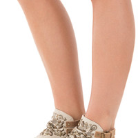 Cream Canvas Sandal with Studded Embellished Detail