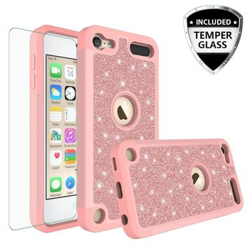 Apple iPod Touch 5 Case, Touch 6 Case,Glitter Bling Heavy Duty Hybrid Case with [HD Screen Protector] Dual Layer Protective Phone Case Cover W/Temper Glass - Rose Gold