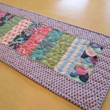 Quilted Table Runner , Tula Pink , Purple Table Runner