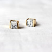Marble Stud Earring, Marble Earring, White Howlite Earring, Statement Earring, Geometric Earring, Gold stud Earring, Marble Post