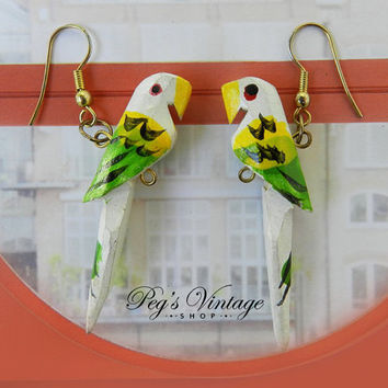 Vintage Wood Parrot Earrings/Hand Painted Tropical Bird Earrings