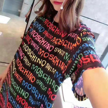 """Moschino"" Fashion Casual Multicolor Letter Print Round Neck Short Sleeve T-shirt Mini Dress"