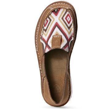 Ariat Boots Women's Red Aztec Print Leather Slip-on Cruiser #10027384