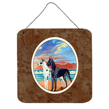 At sunset Great Dane Harlequin and Black Wall or Door Hanging Prints 7051DS66