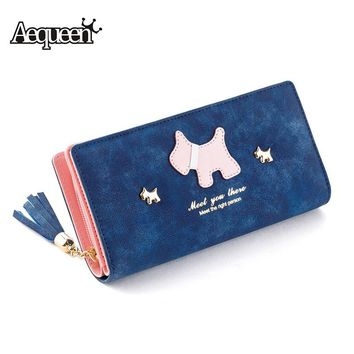 AEQUEEN Cute Dog Women Wallets Tassel Wallets Matte Long Purse Scrub Ladies Wallet Zipper Coin Purses Puppy Credit Card Holder