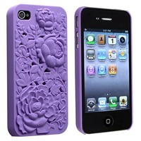 eForCity Snap-on Case Compatible with Apple® iPhone® 4 / 4S, Purple 3D Rose Sculpture