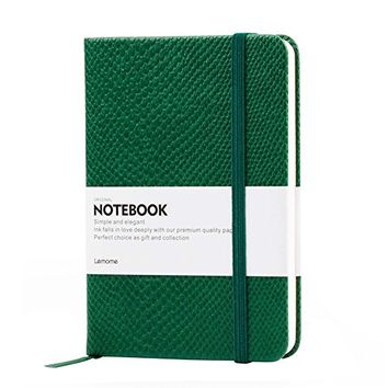 Small Pocket Classic Notebook - Lemome A6 Mini Lizard Hardcover Journal with Divider Stickers, Back to School, Plain, Banded, Green, 3.9 x 5.7