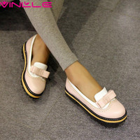 VINLLE 2017 New Women Flats Spring and Summer Pastoral Wind Shallow Mouth Flats Bow Tie Shoes Casual Shoes