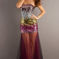 Multi Color Strapless Sequin Dress with Tulle Skirt