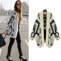 SUNFASHION Women's Fashion Hot Cheap Sale Apricot Batwing Long Sleeve Geometric Cardigan Sweater (Color Beige) = 1946931140