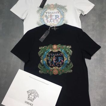 """Versace"" Unisex Casual Fashion Hot Fix Rhinestone Letter Pattern Couple Short Sleeve Cotton T-shirt Top Tee"